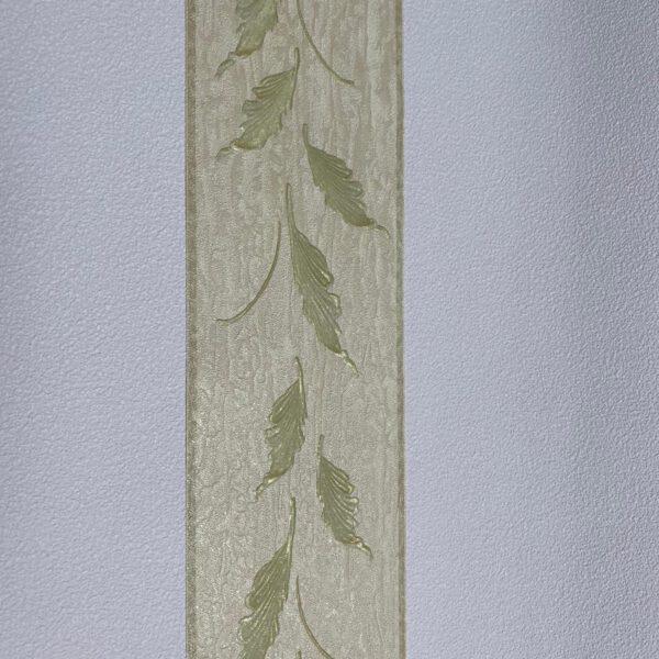 Beige behangrand bladeren groen3