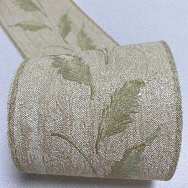 Beige behangrand bladeren groen2