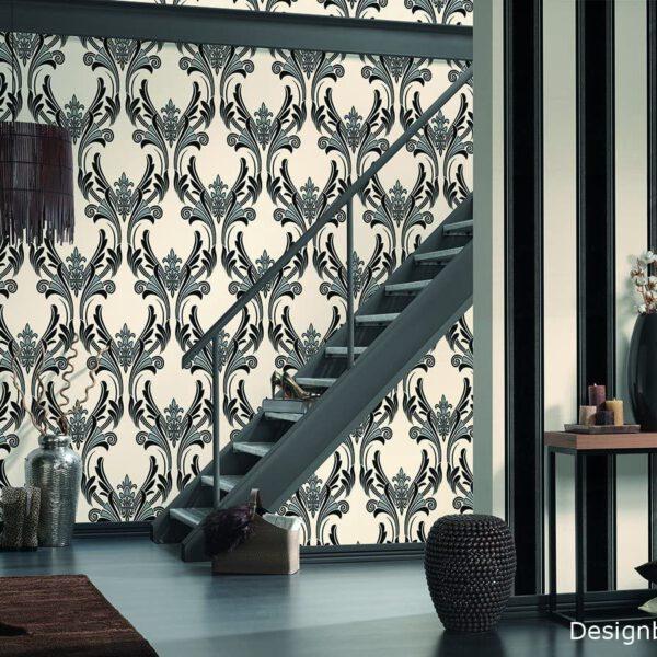 behang-strepen-zwart-wit-957044-kamer