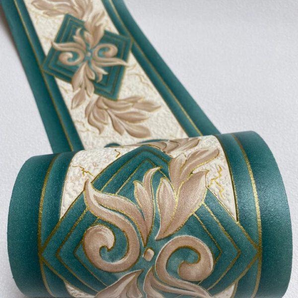 behangrand-groen-beige-blad