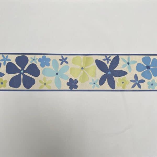 Blauw bloemen behangrand 484014 afstand