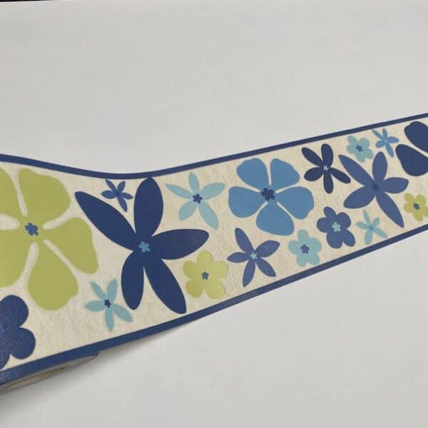 Blauw bloemen behangrand 484014 dichtbij